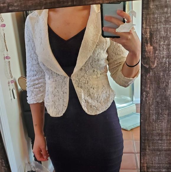 off white blazer lace length